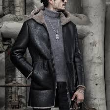 mens mid long winter thick hooded faux leather shearling coat pu leather jacket cod