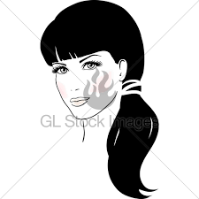 Beautiful Cute Girl Face Vector Illustration Gl Stock Images
