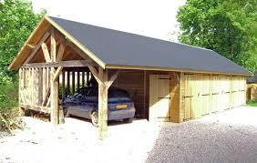 ... Grand Garage En Bois Avec Abri En Ossature Bois ...