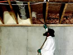 exterior spray foam sealant. polyurethane spray foam insulation being applied exterior sealant