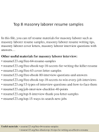 Laborer Resume Samples Construction Skills Examples Sample Objec