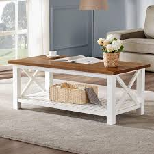 We have the cool resources for table plans. Amazon Com Furnichoi Farmhouse Coffee Table Wood Rustic Vintage Cocktail Table For Living Room With Shelf 47 White And Brown Kitchen Dining