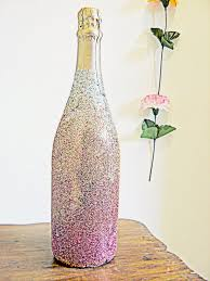Decorating Wine Bottles With Glitter Vintage Movement DIY Ombre Glitter Champagne Bottle How To 2