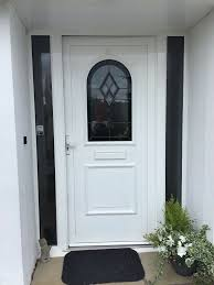 double glazed front door white aluminium with glass side panels