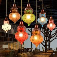 bohemian mediterranean colorful glass ceiling drop light pendant inside lighting designs 0