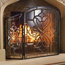 isla glass fireplace screen traditional screens and room dividers by frontgate