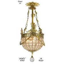 pair of vintage european victorian basket style crystal ball chandeliers ant 490 for
