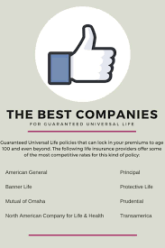 we work with over 40 of the top life insurance providers and we have narrowed it down to the best ones for guaranteed universal life policies that can lock