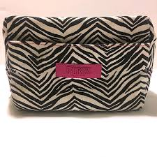 victoria s secret pink zebra print cosmetic bag