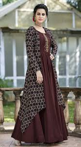 New Dress Design Pic Festival Wear Coffee Brown Trumpet Sleeve Gown Ys25011122