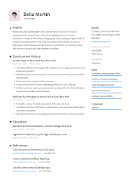 Proven Resumes Spa Manager Resume Templates 2019 Free Download Resume Io