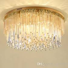 dimmable modern led round crystal chandeliers high end clear k9 crystals surface mounted chandelier for living room bedroom guest room
