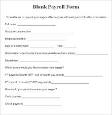 Payroll Sheet Samples Free 7 Blank Payroll Form Templates In Pdf Word
