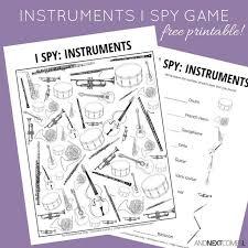 al instruments themed i spy game free printable for kids