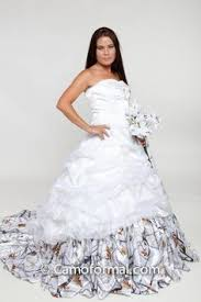 camo ball gown shown in white snowfall true timber and white net
