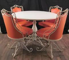wrought iron wicker outdoor furniture white. vintage mid century modern salterini woodard wrought iron metal patio table chair set 1950s dinette outdoor wicker furniture white a