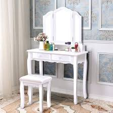 dressing table seat with storage vanity table stool set with 4 drawers white round dressing table