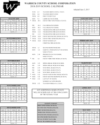 Printable School Year Calendars Warrick County School Corporation