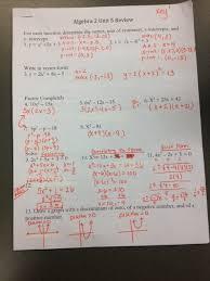 algebra 2 unit 5 review docx