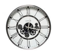 london moving gear clock white 54cm