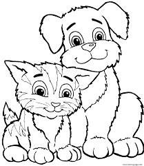 Small Picture Cute Cat And Dog Sd7c2 Coloring Pages Printable
