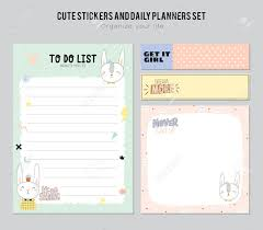 Cute Lists Set Of Planners And To Do Lists With Cute Animal Illustrations