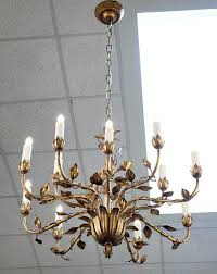baroque revival french gold leaf tole chandelier for