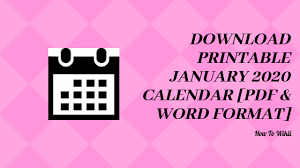 Download Printable January 2020 Calendar Pdf Excel Word