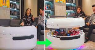 Coosno is a smart coffee table designed for the future. The Coosno Is A Smart Coffee Table With A Built In Fridge Stereo And Draw For Storage