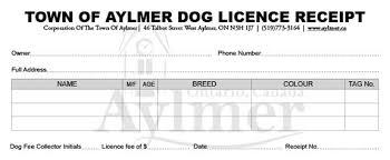 Dog Receipt Dog Licensing Town Of Aylmer Ontario