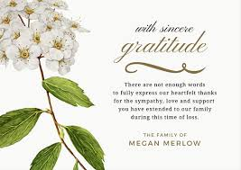 Thank You Note After Funeral To Coworkers Bereavement Thank You Note Message Bereavement Card Gift