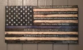 Heraclitus Quotes Custom Wooden Rusticstyle Thin Blue Line American Flag W Heraclitus Quote