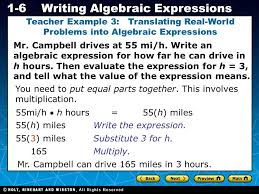 holt ca course 1 1 6writing algebraic expressions mr