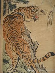 old chinese painting scroll tiger jiang tingxi 4 tigers antique paintings four tiger archaize do old