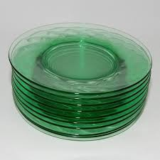 contemporary vintage glass plate depression green salad spiral optic pattern by abundancy with cup holder uk