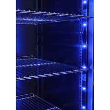 upright schmick glass door fridge soft blue led lights that can be turned on or