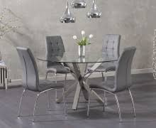 madison 90cm clear glass dining table with cavello ivory white chairs. rio round glass dining table with calgary chairs madison 90cm clear cavello ivory white w