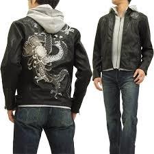 karakuri tamashii faux leather jacket 253516 japanese pattern men s black brand new from japan