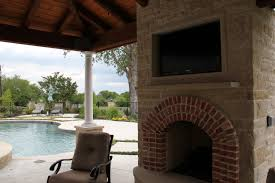 outdoor weatherproof fireplace tv installation in dallas area sachse tx