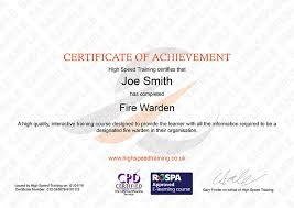 Certificate Of Completion Training Enchanting Fire Marshal Certificate Get Licensed UK