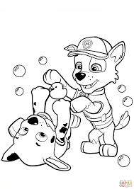 Small Picture Paw Patrol Rocky and Marshall coloring page Free Printable