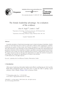 the female leadership advantage an evaluation of the evidence the female leadership advantage an evaluation of the evidence pdf available