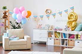 modern flat prepared for birthday party