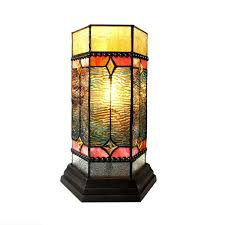 chloe lighting neilson tiffany glass accent pedestal 1 light mission table lamp 14 tall