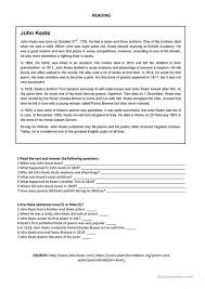 john keats reading worksheet esl printable worksheets  john keats reading
