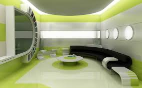 fantastic green living room decorations with black sectional as well as rounded coffee table in futuristic living areas decors views