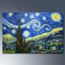 starry night canvas hand painted oil paintings van painting abstract art framed starry night