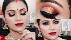 navratri durga puja makeup 2018 traditional bengali look half cut crease eyes tutorial in hindi