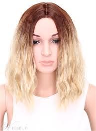 Aisi ミディアム ウェーブのかかったボブ髪型キャップレス金髪 12