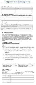 Notarized Letter Of Guardianship Temporary Guardianship Form Template Plan For Life Word
